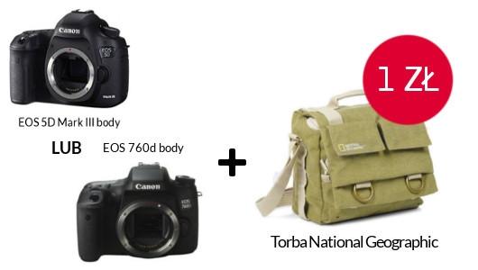 Canon EOS 5D Mark III body lub 760d body + torba National Geographic za 1 zł!
