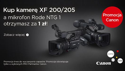 Kamera Canon XF200/205 + mikrofon Rode NTG1 za 1 zł!