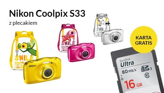 Nikon Coolpix S33 z plecakiem + karta SDHC w prezencie!
