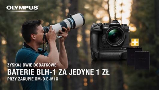 Przy zakupie aparatu Olympus E-M1X, otrzymasz dwie baterie tylko za 1 zł!