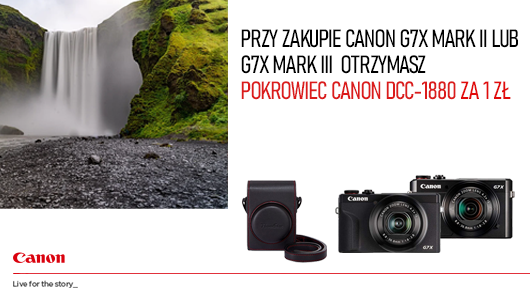 Canon G7X Mark II i G7X Mark III z pokrowcem Canon DCC-1880 za 1 zł.