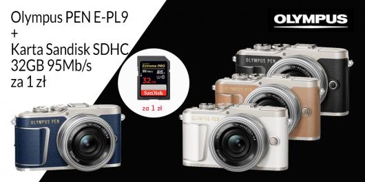 Olympus E-PL9 + karta Sandisk SDHC 32GB 95Mb/s za 1 zł